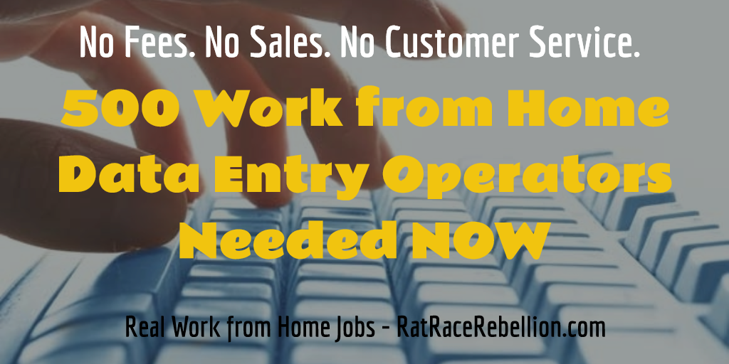 500 Work from Home Data Entry Operators Needed NOW