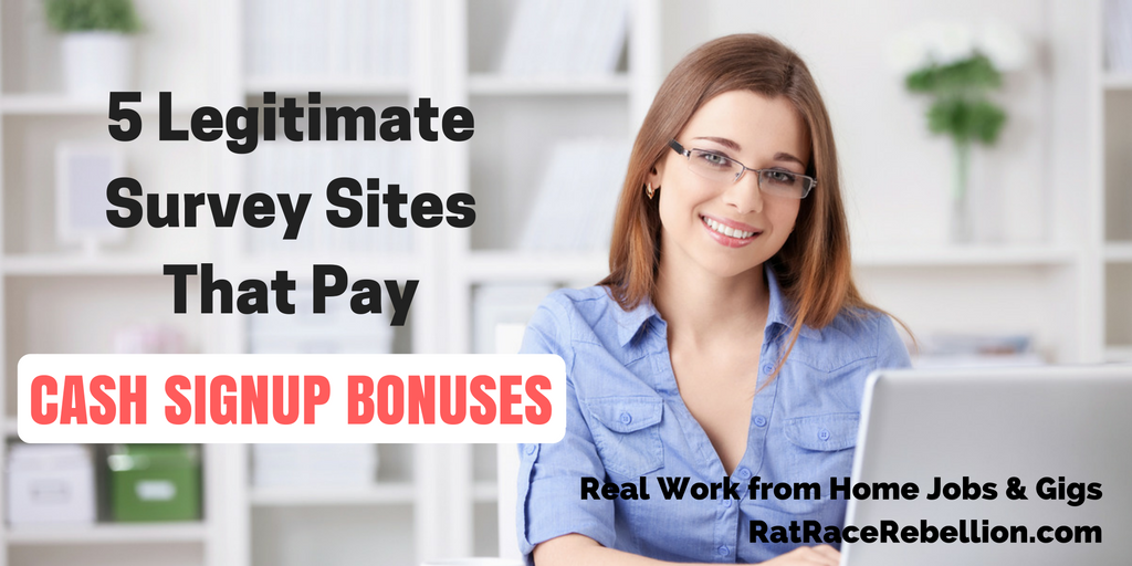 Legitimate Survey Sites That Pay Cash Signup Bonuses – Real Work ...