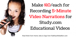 Make $10/Each for Recording 5-Minute Video Narrations for Study.com