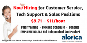 $9.71 – $11/hour Flexible Customer Service Jobs OPEN NOW