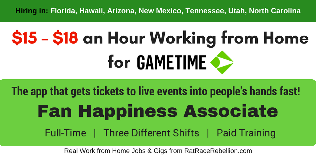 $15 - $18 hr Working from Home for Gametime!