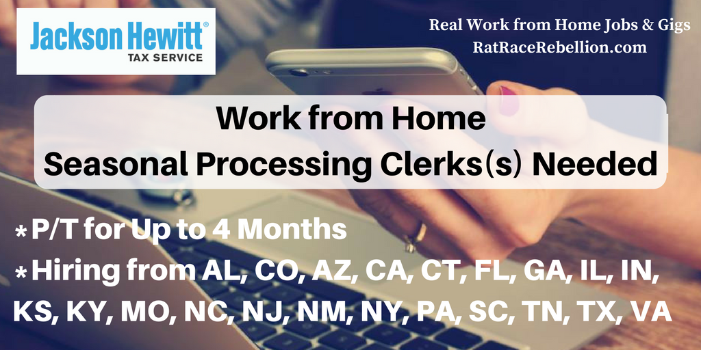 Work From Home Part Time Seasonal Processing Clerk S