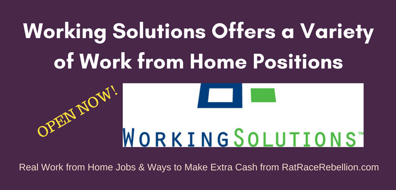 Working Solutions Offers a Variety of Work from Home Positions