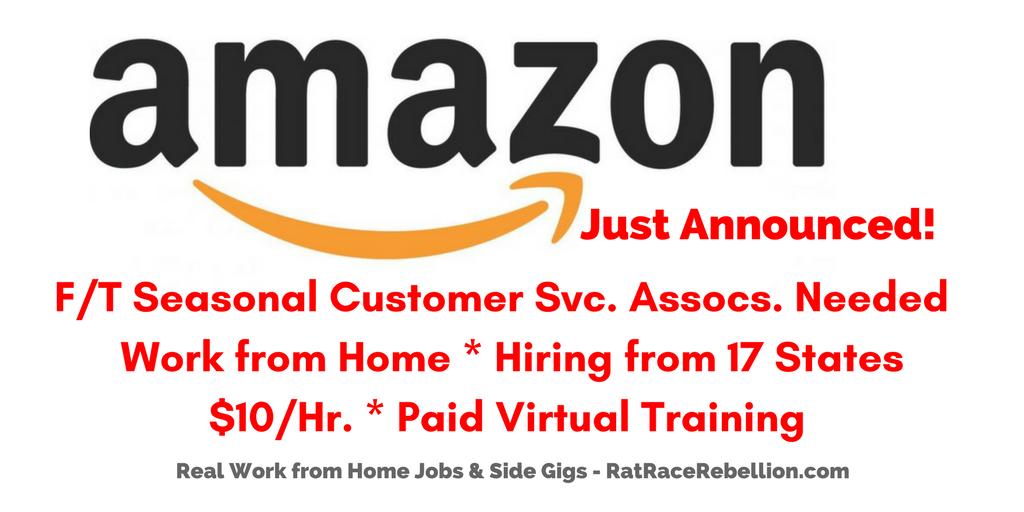 Amazon Hiring Again Seasonal Work From Home Customer Service