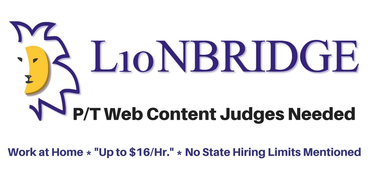 Lionbridge Seeks Work from Home Web Content Judges,