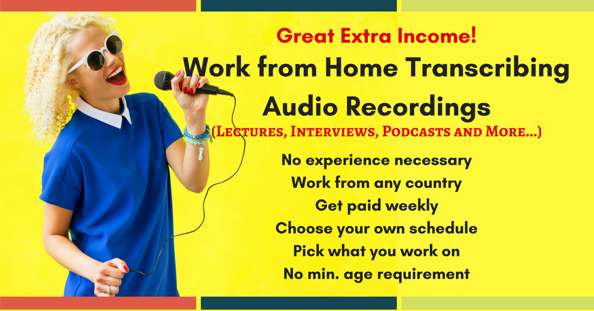 Work from Home Transcribing Audio Recordings - No Exp
