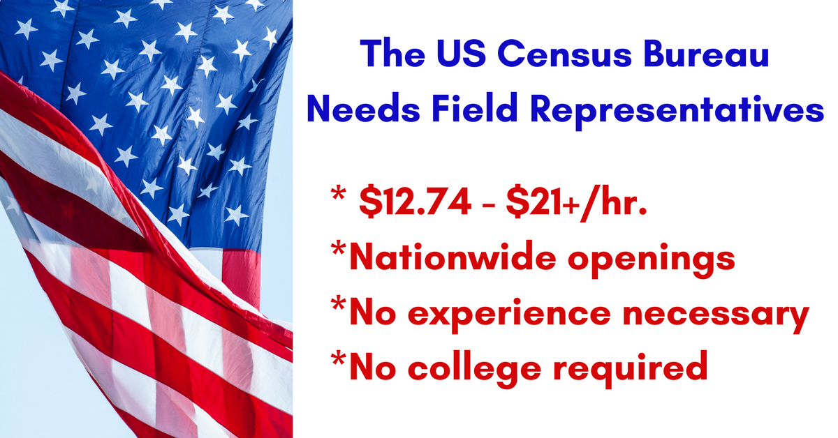 $12 74 - $21+/hr  for US Census Field Rep Jobs - Apply Now