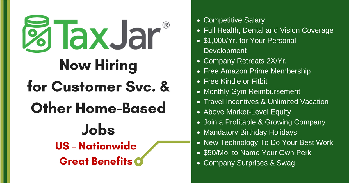 Work from Home for TaxJar - Nationwide, Great Benefits