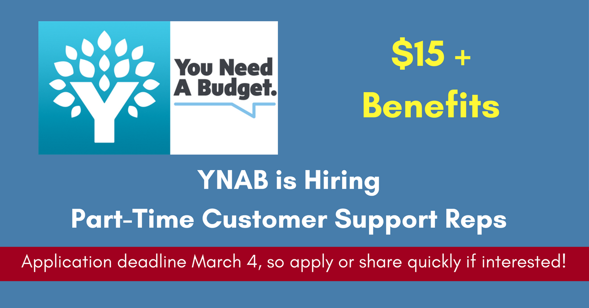 Work from Anywhere Part-Time Support Reps  Needed at YNAB