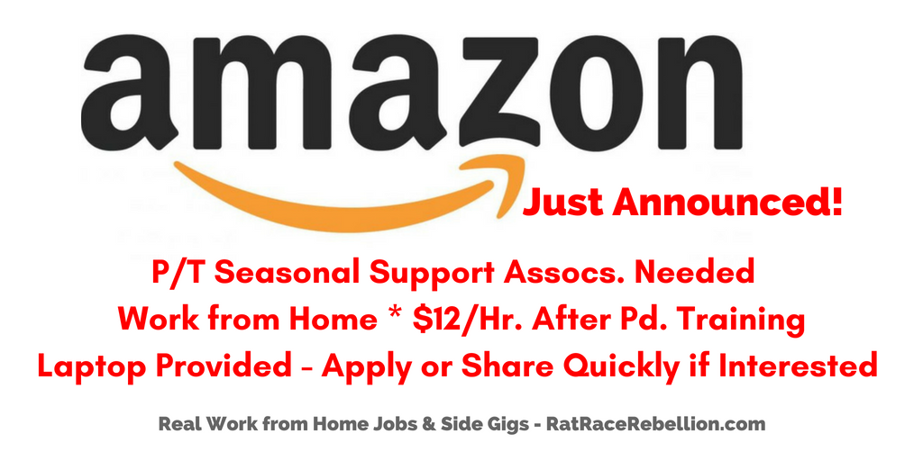 Amazon Hiring Work From Home P T Seasonal Support Associates Laptop Provided Work From Home Jobs By Rat Race Rebellion