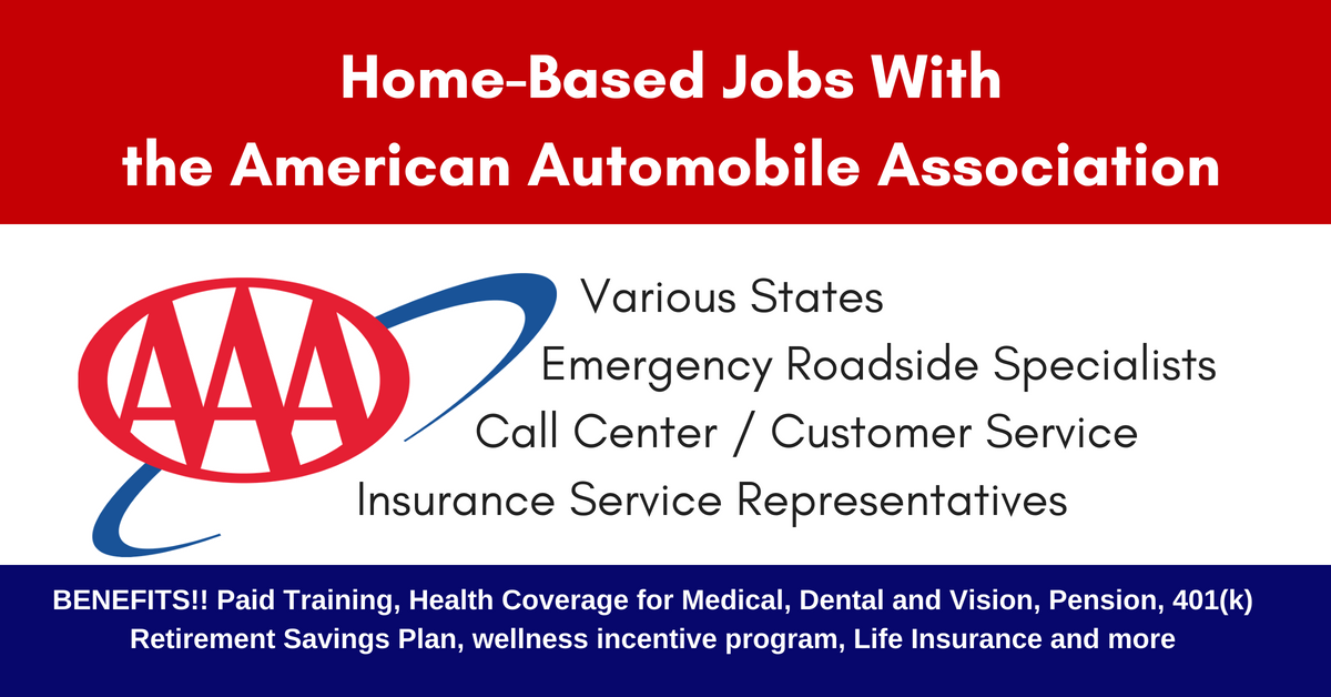 Work from Home for AAA Great Benefits and Pay Various Roles and
