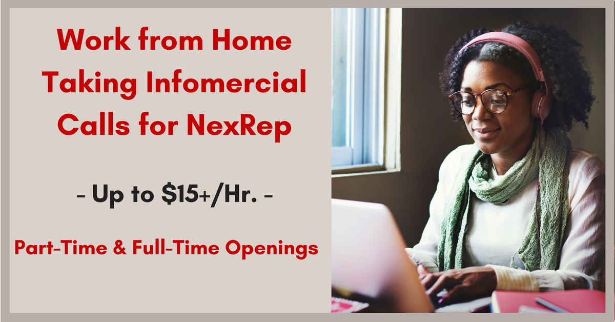 Nexrep Needs Work From Home Agents For Inbound Infomercial Orders Work From Home Jobs By Rat Race Rebellion