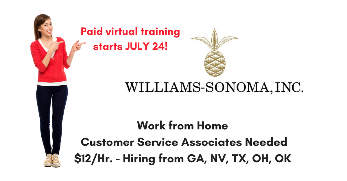 williams sonoma hiring more work from home customer service reps real work from home jobs by. Black Bedroom Furniture Sets. Home Design Ideas
