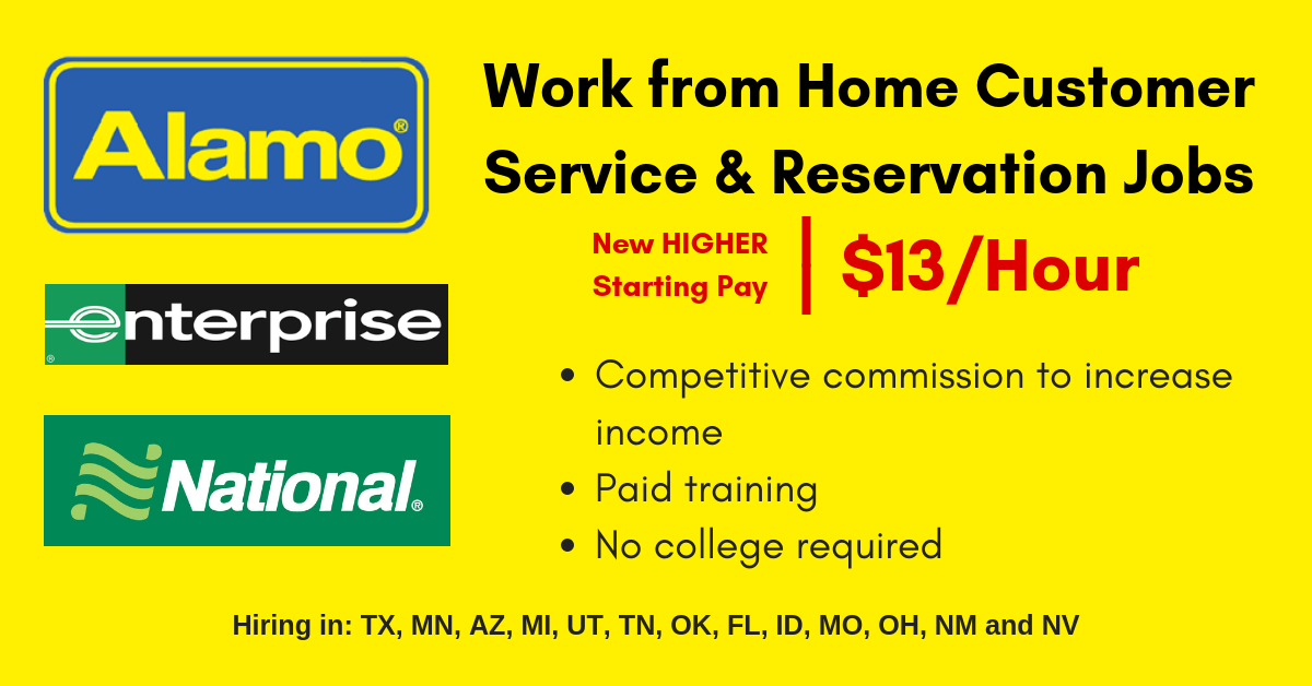 Work From Home For Alamo Enterprise And National Rental Car Make