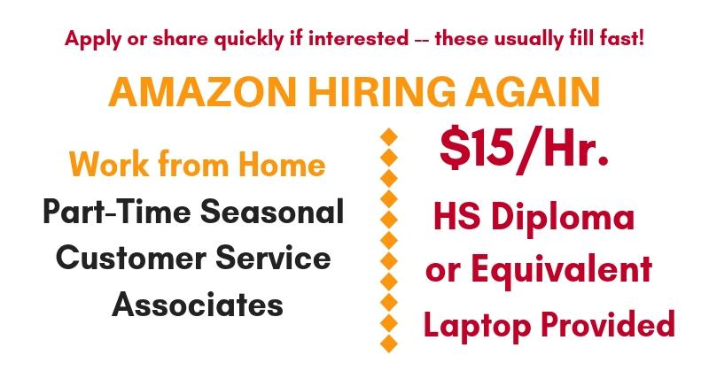Work From Home Jobs At Amazon P T Seasonal Customer Service