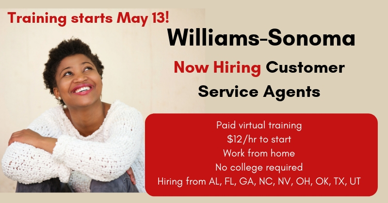 williams sonoma new job listings work from home customer service agents work from home jobs. Black Bedroom Furniture Sets. Home Design Ideas