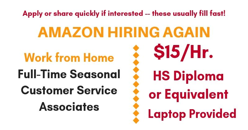 Work At Home Jobs At Amazon F T Seasonal Customer Service Associates 15 Hr Work From Home Jobs By Rat Race Rebellion