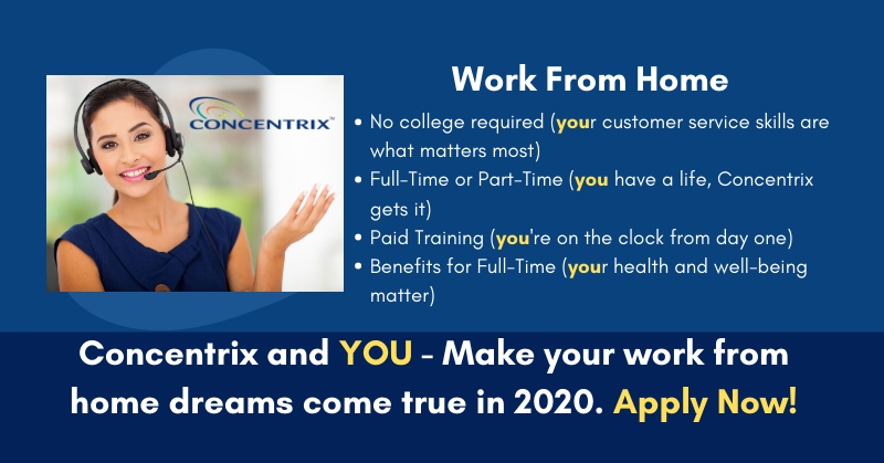 Work From Home Jobs With Benefits 2020.Work From Home For Concentrix Full And Part Time Customer