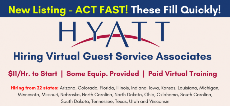 Hyatt Hiring More Virtual Guest Service Ociates 11 Hr To Start